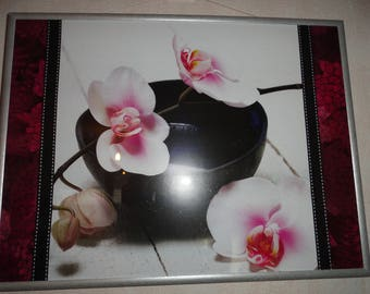 """Very nice titled """"Orchids on black Bowl"""""""