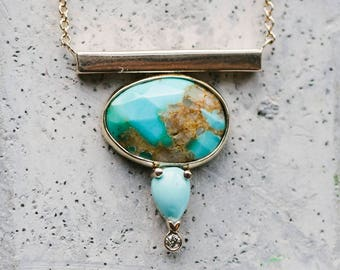 14 kt Gold Bar & Genuine Turquoise With Dainty Diamond Necklace / Turquoise Necklace / Fine Jewelry Turquoise Necklace / Fine Jewelry