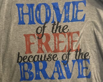 Home of the Free, Because of the Brave- Racerback Tank Top