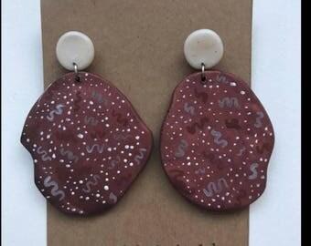 Brown Polymer Clay Earrings