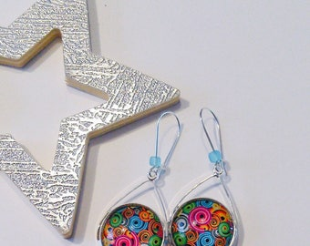 Colorful cabochon drops earrings