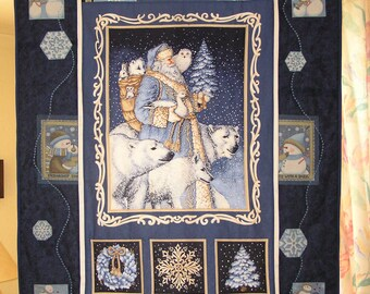 Large patchwork blue Father Christmas