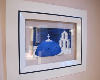 An original watercolor church painting between two glass Greek