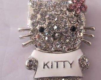 "x 1 ""Silver"" rhinestone cat pendant."