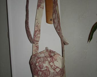 pouch for cloths embroidery and French toile de jouy pins