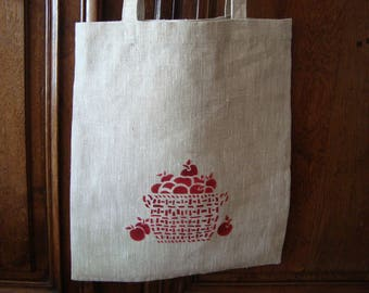 Tote bag linen thick, solid, pattern basket