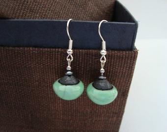 Raku ceramic - model single - ball shape earrings