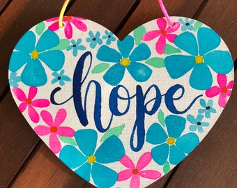 Hope Watercolour Canvas Hanging Heart