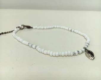 White choker with pendant and bracelet (double)
