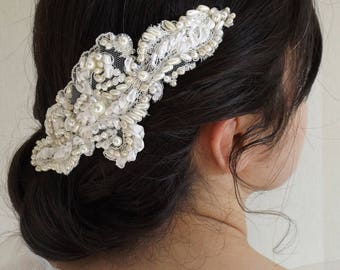 delicately hand embroidered, ivory and white bridal comb
