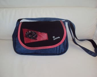 Crossbody bag in denim, red and black