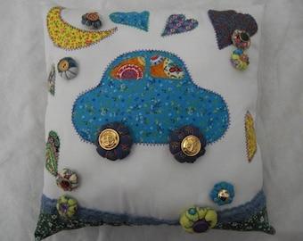 Cushion Vroum Vroum Blue wheels