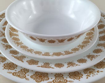 4 Piece Corelle Dinnerware Golden Butterfly Dinner Plate Salad Plate Side Plate Cereal Bowl-Vintage Yellow Gold Flower Butterfly-4 Piece Set