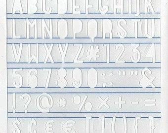 Stencil Sans Serif Alpha and numbers, shapes 61 - Heatwave - Ref 13003044