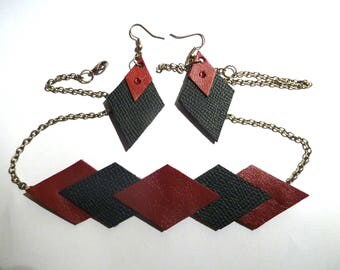 Set the red leather and Black diamonds