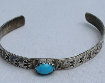 Vintage Navajo Sterling Silver and Turquoise Baby Cuff Bracelet