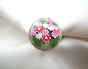 Ring 'scattered pink flowers...' Rose polymer clay