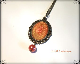 Vintage bronze pendant necklace red and gold hand painted