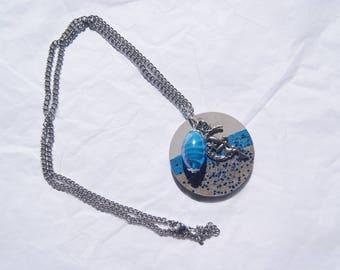 Blue round concrete necklace