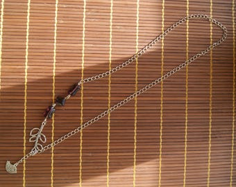 Necklace silver branch and bird charms