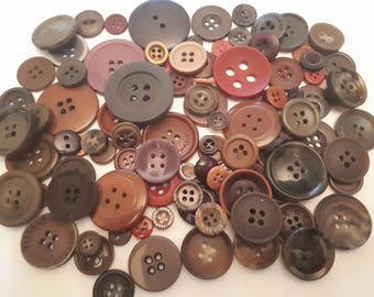 set of 102 different shades and various Brown buttons sizes scrapbooking