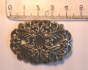 Baroque style antiqued silver connector