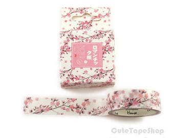 Masking tape - Washi paper, watercolor Illustration - pink spring Cherry (Dimensions: 15 x 700 mm)