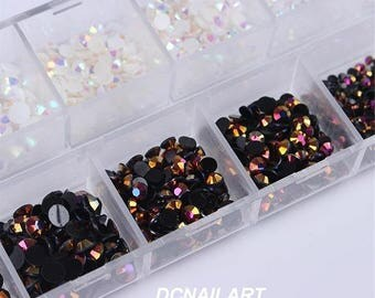 1 Box Black White Mixed Jelly Rhinestones 3D Nail Decoration With Dotting Pen Manicure Set