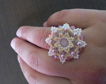 flower woven seed bead and swarovski ring