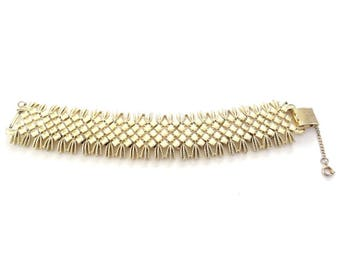 FREE DELIVERY! VINTAGE Coro Pegasus 1950's Goldtone Diamond Links Woven Bracelet