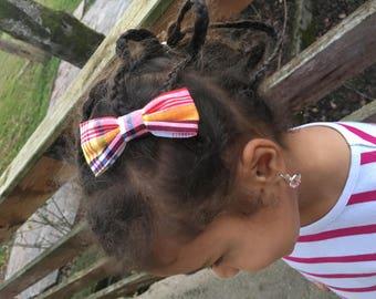 Madras bow hair clip
