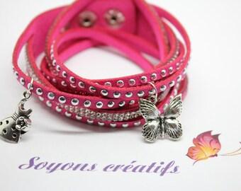 Rhinestone silver charms - jewelry Creations - Fuschia Bracelet Kit