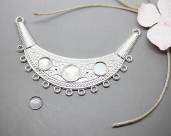 1 bib connector silver Moon + 3 8-10mm - SC76069 - design - jewelry Cabochon