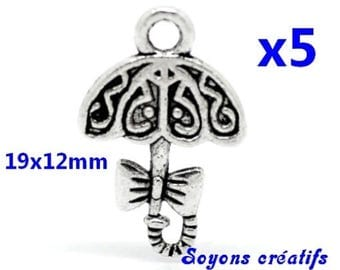 Set of 5 charms silver umbrella 19x12mm
