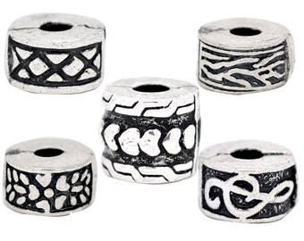 5 Silver clips mixed shapes to pandor style bracelet has - SC08177 - creating jewelry-