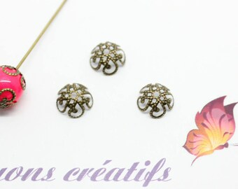 Set of 100 Bronze 10mm - SC46972 - flower bead caps