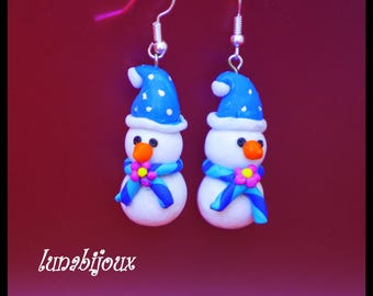 polymer clay earring snowman snow Christmas jewelry gift