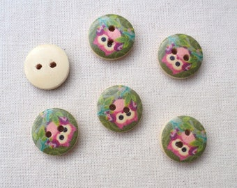 set of 6 pattern OWL 4 wooden buttons