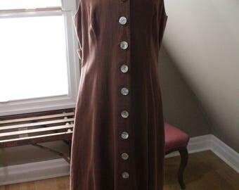 Brown Linen 1970's Jumper Dress with MOP buttons