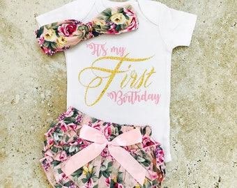 First Birthday Outfit Girl, First Birthday Girl, 1st Birthday Girl Outfit, First Birthday Outfit, Pink and Gold Fisrt Birthday Outfit