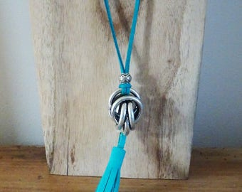 Turquoise suede with sphere twist silver plated necklace