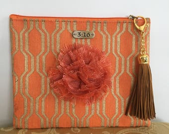 Tangerine and Gold Clutch with Tan Tassle-#1048