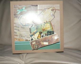 "Card 3D ""taking her suitcase"" vintage"