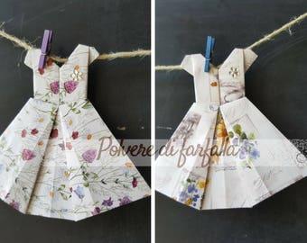 Floral Origami dress party decorations, marks place, little cadeau