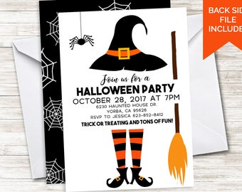 Halloween Party Invite Invitation Digital 5x7 Witch Spooky Trick or Treat Costume Kids