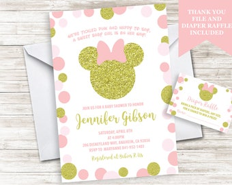 Minnie Baby Shower Invite Invitation Sprinkle Mouse Inspired Gold Pink Girls Polka Dots Digital 5x7 Diaper Raffle