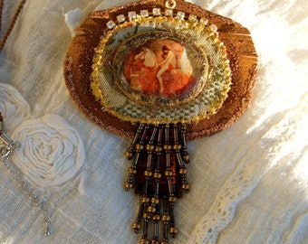 Pendant My Lady Godiva, leather, beads, woven, wicker...