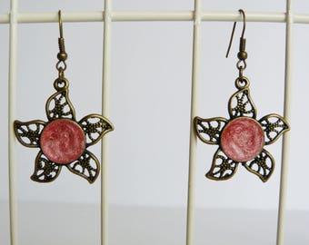 Pink Sun earrings, silver metal