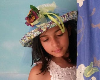pale blue cotton crochet girl hat and flower print