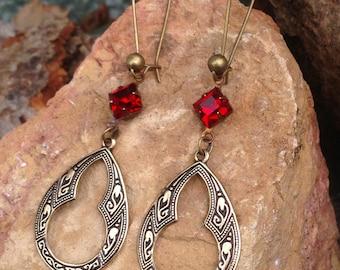Earrings Red Ruby Crystal brass hoops